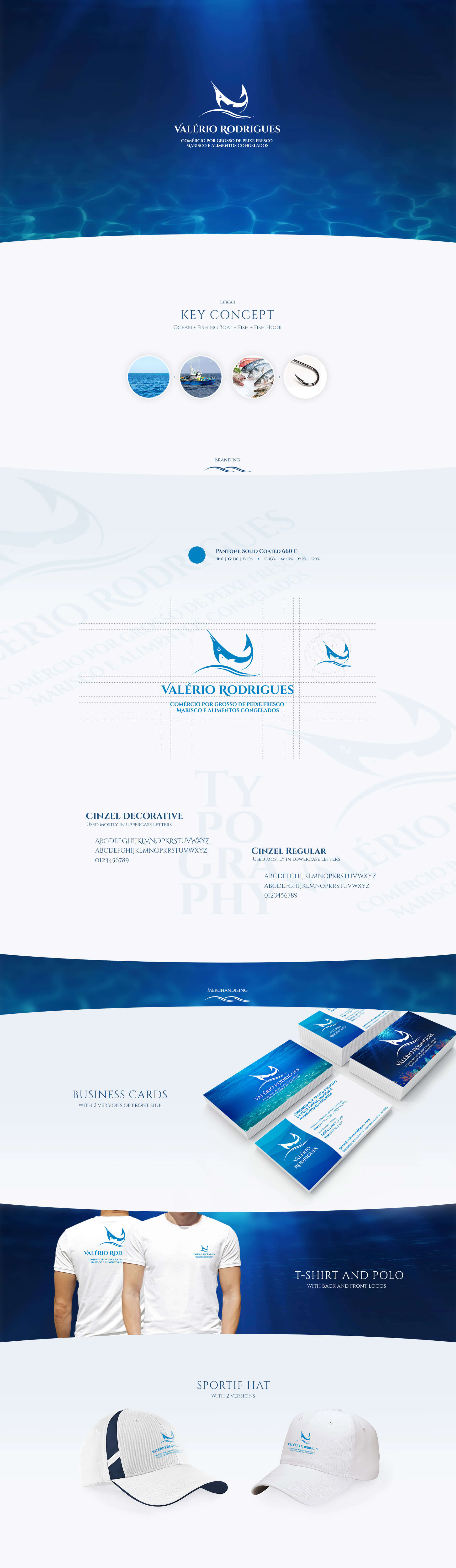 Valério Rodrigues - Fishmonger - Logo Design | Business Cards | Table Fish Presentation | Vinil Decoration | T-shirts | Hats
